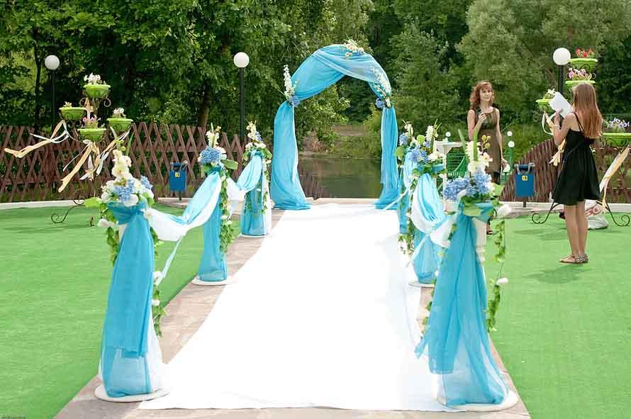 выездная церемония в голубых тонах