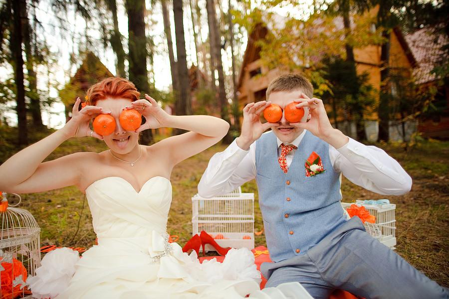 Оранжевая свадьба одежда