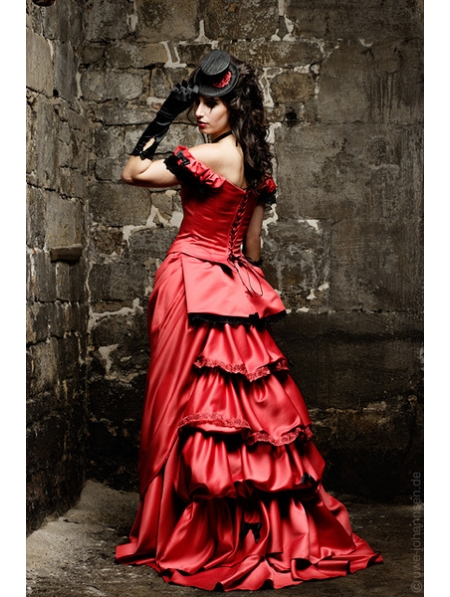 red-off-the-shoulder-sexy-gothic-wedding-dress